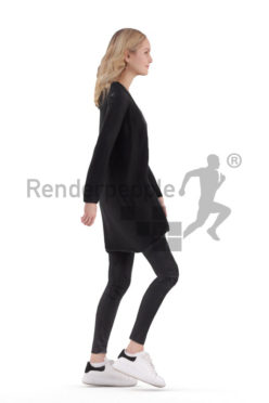 Animated human 3D model by Renderpeople – european female in casual cardigan, walking