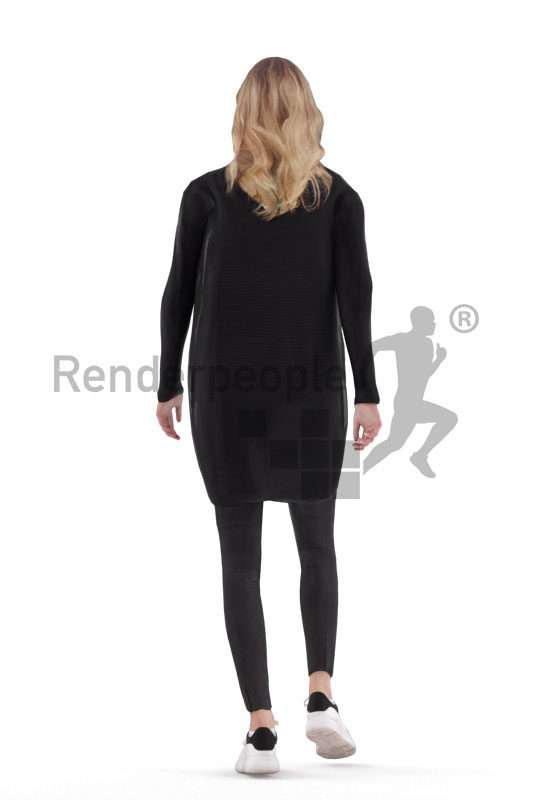 Animated human 3D model by Renderpeople – european female in casual cardigan, walking