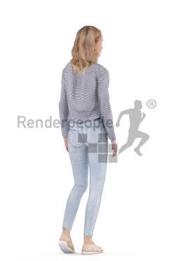 Animated human 3D model by Renderpeople – european female, smart casual, walking