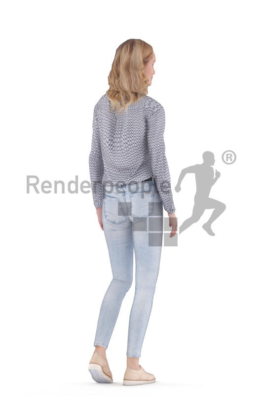 Animated human 3D model by Renderpeople – european female, smart casual, walking