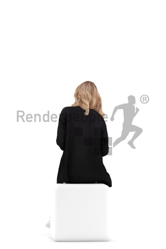 Scanned 3D People model for visualization – white female, casual outfit, sitting and communicating