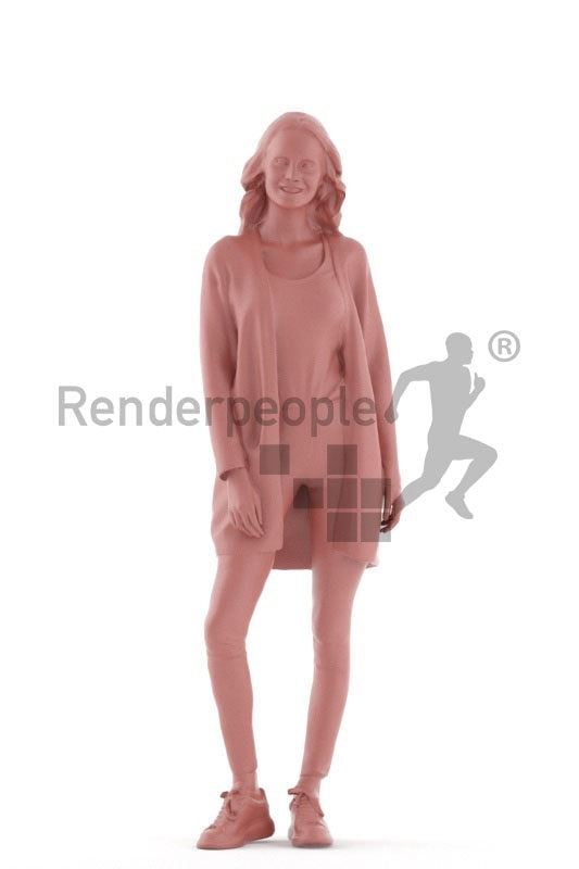 3D People model for 3ds Max and Maya – european woman, daily look, standing