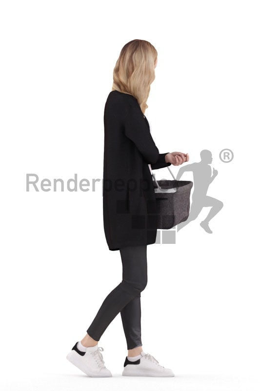 Posed 3D People model for visualization – european casual dressed female, walking with a shopping basket