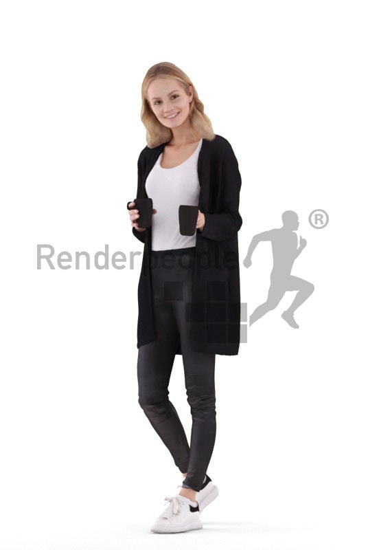 3D People model for 3ds Max and Sketch Up – european woman in casual look, offering coffee