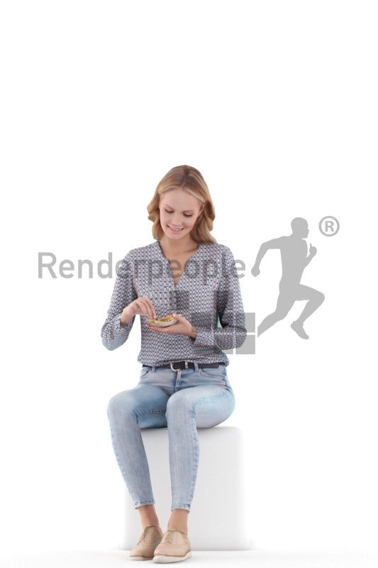 3D Pople model for 3ds Max and Sketch Up – european woman sitting and eating chips