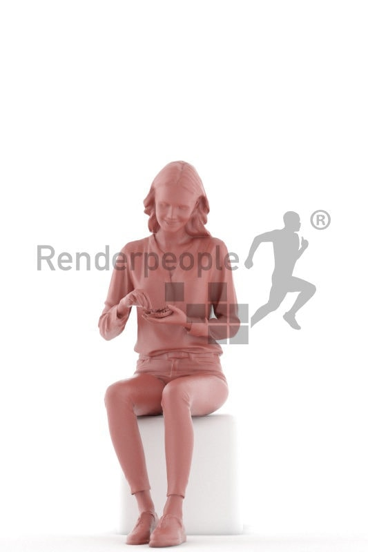 3D People model for 3ds Max and Sketch Up – european woman sitting and eating chips