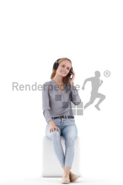 Scanned human 3D model by Renderpeople – white woman in daily cllothes, sitting and listening to music