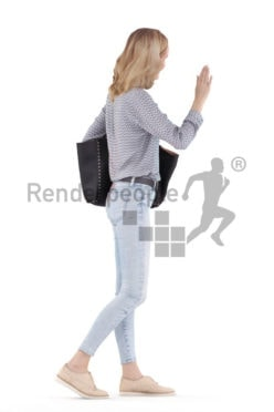 Scanned human 3D model by Renderpeople – european woman, casual dressed, walking and saluting