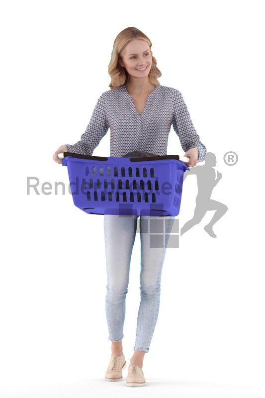Posed 3D People model for renderings – european woman, with laundry basket at home, casual