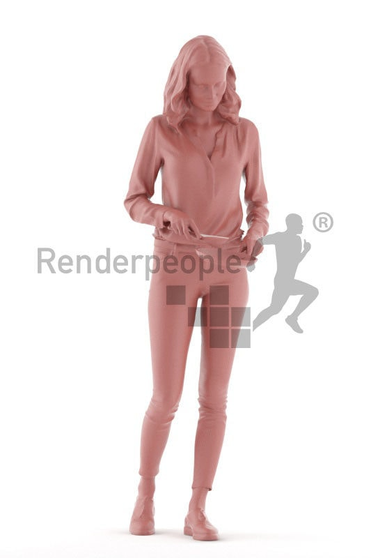 """3D People model for 3ds Max and Sketch Up – """"european woman, chopping something"""