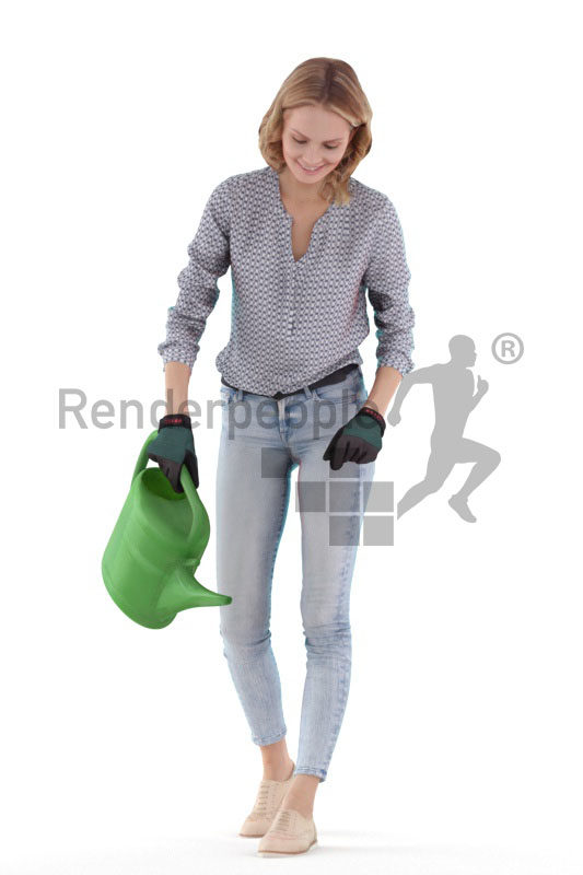 """3D People model for 3ds Max and Sketch Up – """"european woman, with a watering can"""