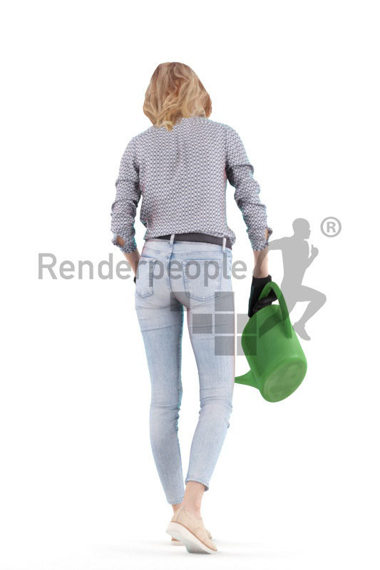 "3D People model for 3ds Max and Sketch Up – ""european woman, with a watering can"