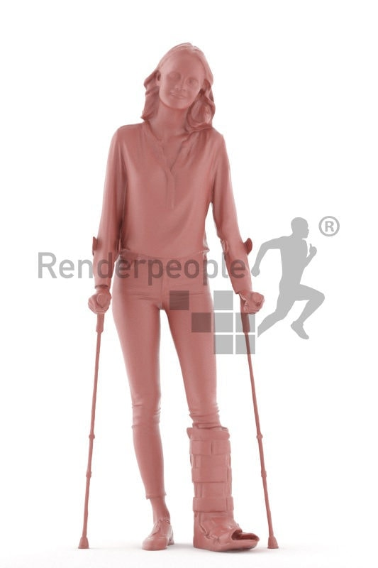 Scanned human 3D model by Renderpeople – european woman with injury,, with crutches and orthopedic splint