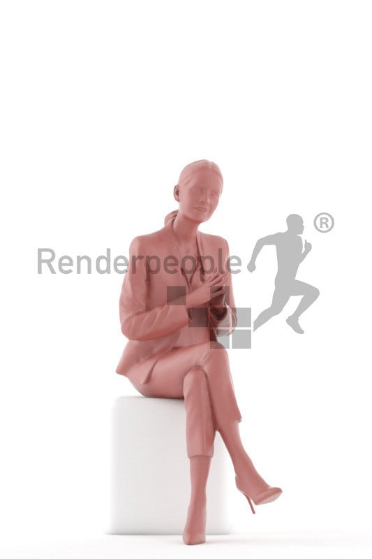 3d people business,3d white woman standing