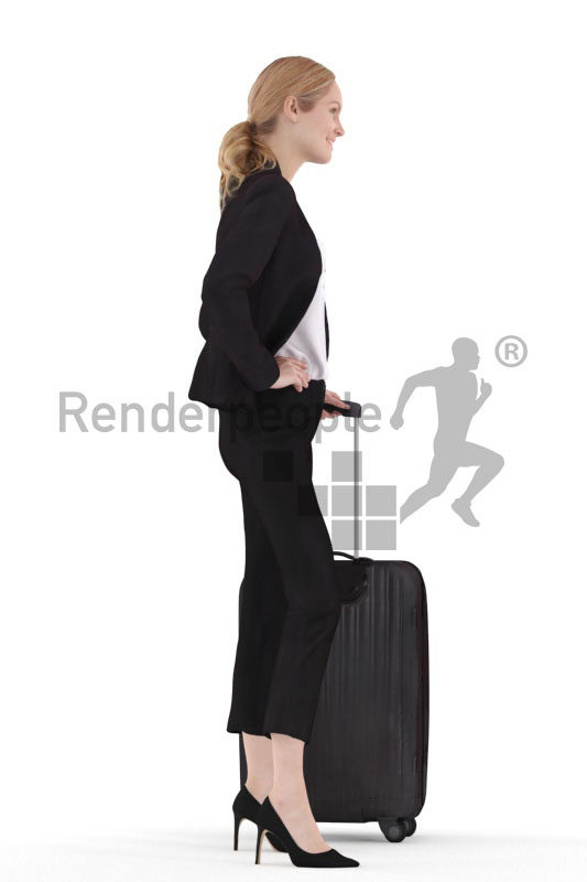 3d people business,3d white woman standing with a trolley bag