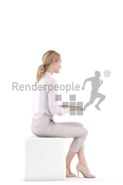 3d people business,3d white woman, sitting and typing
