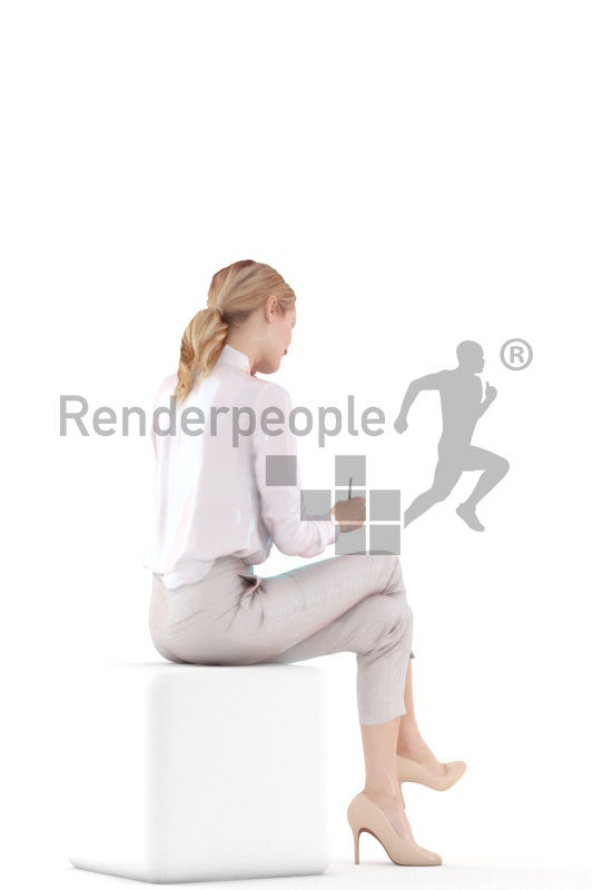 3d people business,3d white woman, sitting and calling while taking notes