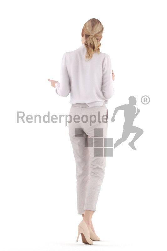 3d people business,3d white woman walking and interacting