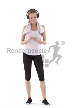 3D People model for 3ds Max and Cinema 4D – white woman listening to music in the gym, fitness
