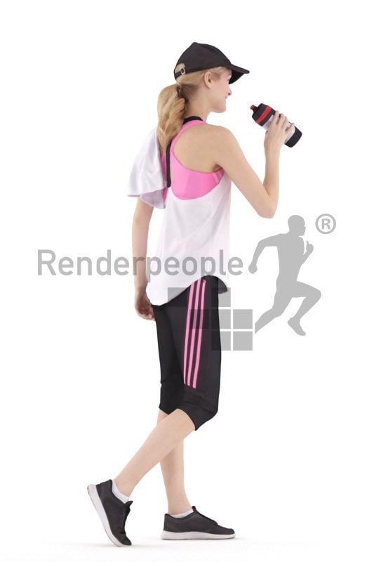 Scanned human 3D model by Renderpeople – european woman in gym wear with bottle and towel