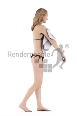Scanned 3D People model for visualization – european female in bikini, walking with a towel
