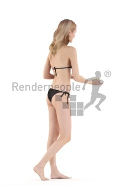 3D People model for 3ds Max and Blender – white woman in bikini with chips