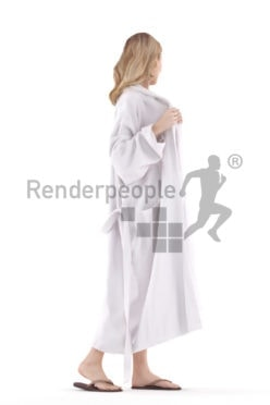 Realistic 3D People model by Renderpeople white woman walking in bikini and bathrobe