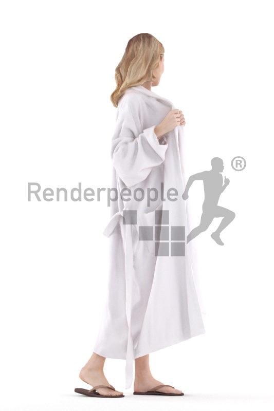 Realistic 3D People model by Renderpeople white woman walking in bikini and bathrobe