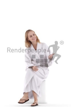 Realistic 3D People model by Renderpeople white woman sitting in bathrobe and communicating