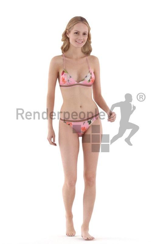 Photorealistic 3D People model by Renderpeople – european woman walking in bikini