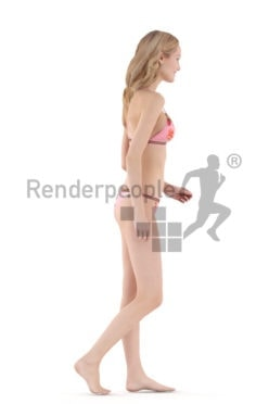 Photorealistic 3D People model by Renderpeople – european woman walking in bikini