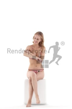 Posed 3D People model for renderings – european woman in bikini putting on sunscreen