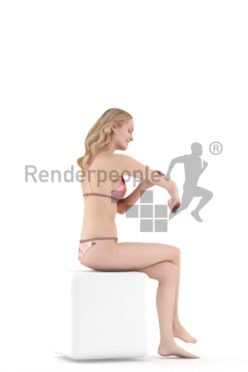Posed 3D People model for renderings – european woman in bikini putting on sunscreen