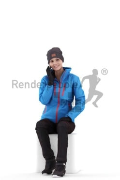 3D People model for 3ds Max and Sketch Up – european woman in skiing wear, sitting and calling