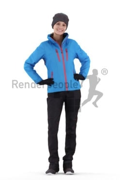 Scanned human 3D model by Renderpeople – european woman in skiing dress