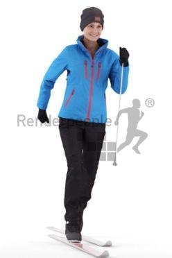 Posed 3D People model by Renderpeople – european female skiing with ski equipment