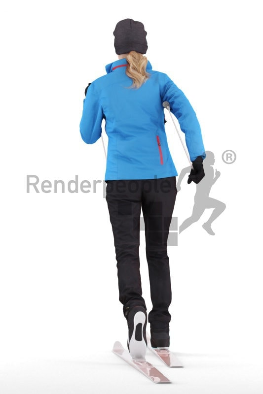 Posed 3D People model by Renderpeople – european female skiing with ski equipment
