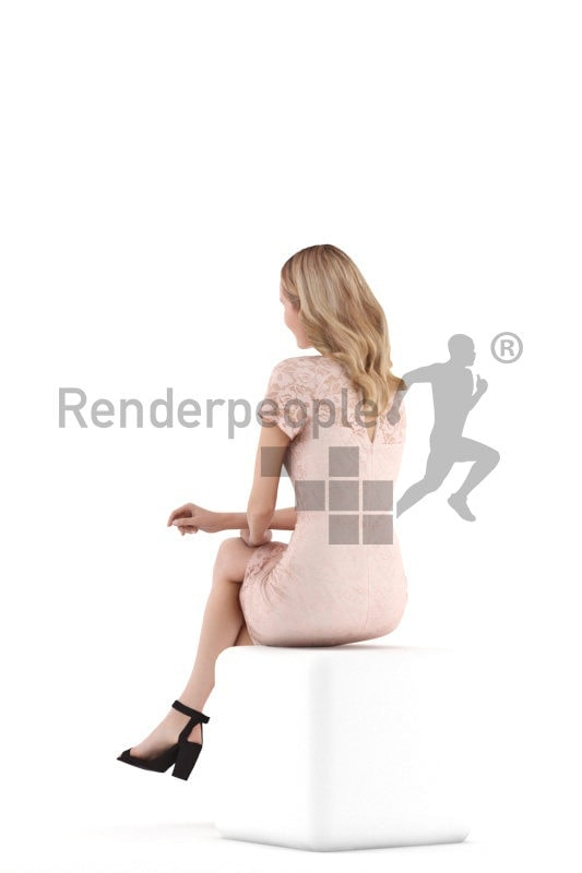 3D People model for 3ds Max and Blender – white woman sitting and communicating, event