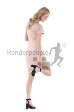 Posed 3D People model for visualization – european woman, event, putting on her shoes