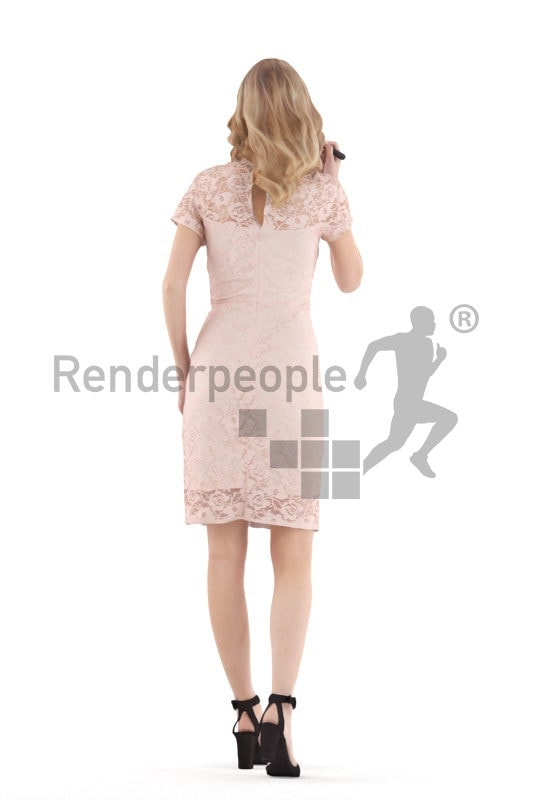 3D People model for 3ds Max and Cinema 4D – european woman in an event dress, putting o make up