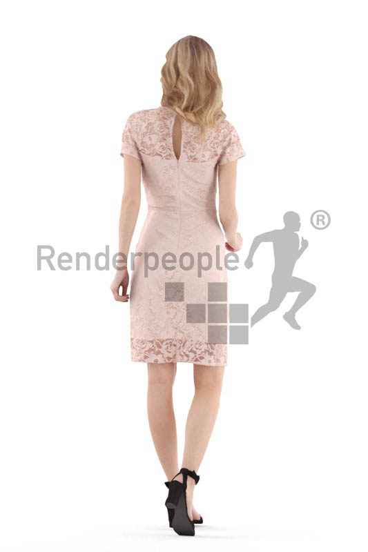 Scanned 3D People model for visualization – white woman, event, walking
