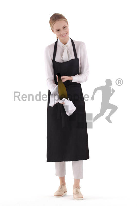 3D People model for 3ds Max and Cinema 4D – white woman, gastronomy serving wine
