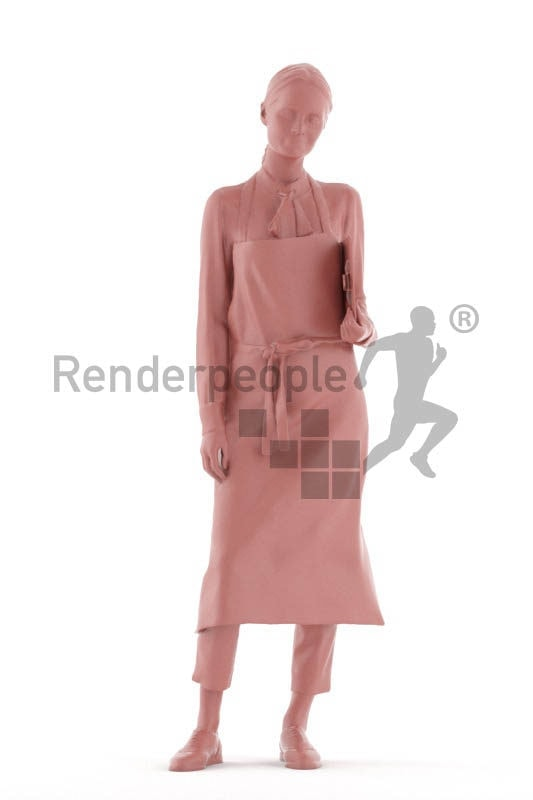 3D People model for 3ds Max and Cinema 4D – white woman, gastronomy service