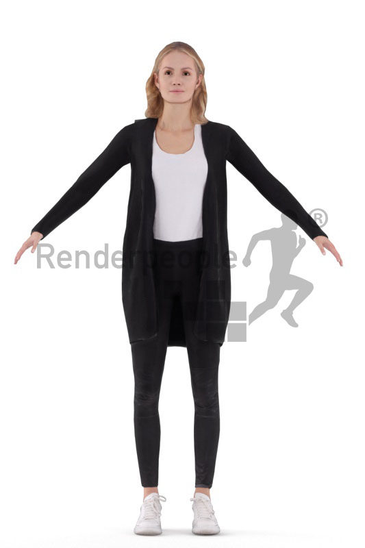 Rigged 3D People model for Maya and 3ds Max – white woman with a casual cardigan