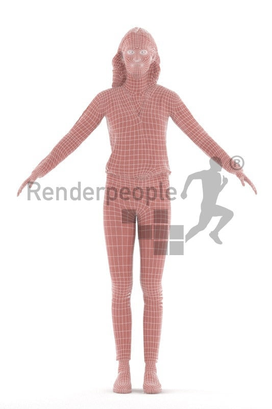 Rigged 3D People model for Maya and Cinema 4D – white female in smart casual clothes