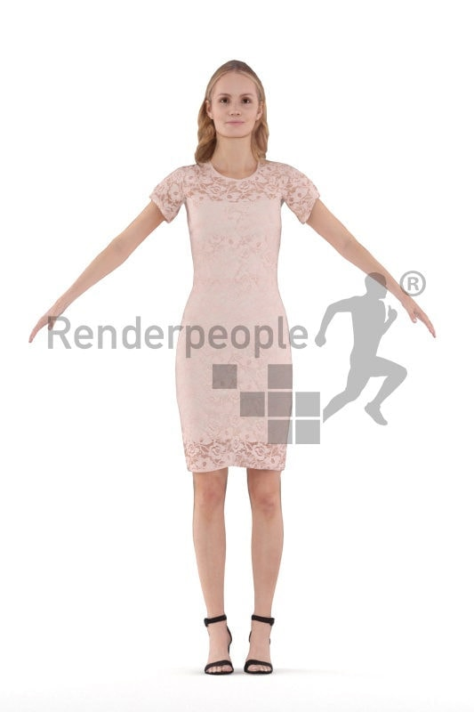 Rigged and retopologized 3D People model – white woman in chic event look