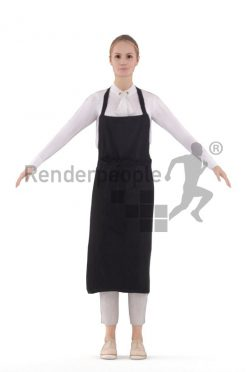 Rigged human 3D model by Renderpeople – european waitress with apron