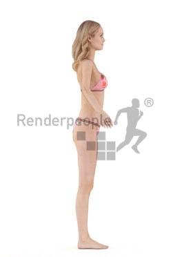 Rigged and retopologized 3D People model – white female in bikini