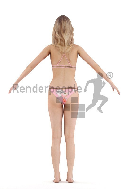 Rigged and retopologized 3D People model – white female in bikini