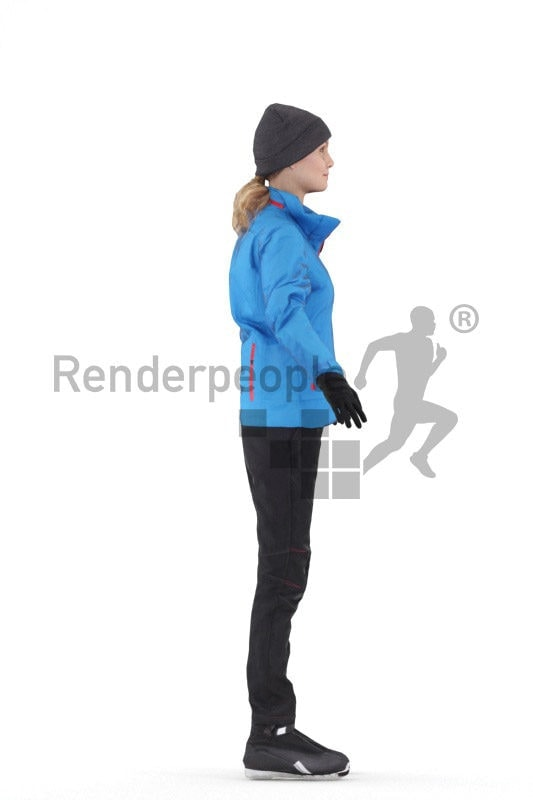 Rigged 3D People model for Maya and Cinema 4D – european woman in skiing outfit